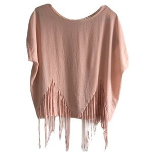 3/$30 Zara Pink Short Sleeve Fringe Blouse Small